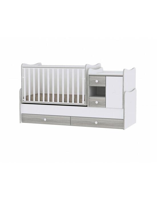 Lorelli MiniMax kombi ágy 72x190 - White & Artwood / Fehér & Artwood