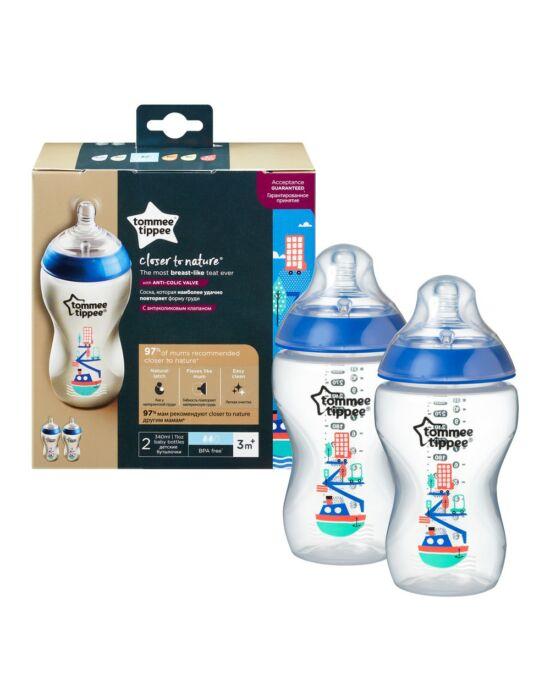 Tommee Tippee Közelebb a természeteshez BPA-mentes cumisüveg 340ml duo kék