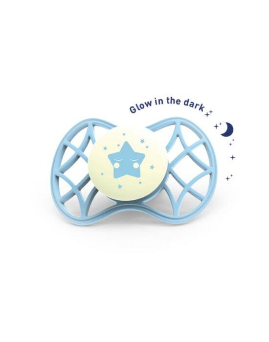 Nuvita Air.55 Cool! éjszakai cumi védőkupakkal 0hó+ - Glow Aquamarine - 7065