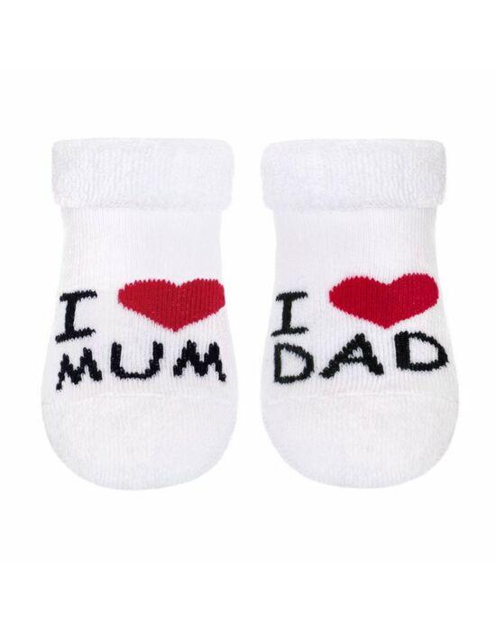 Csecsemő frottír zokni New Baby fehér I Love Mum and Dad