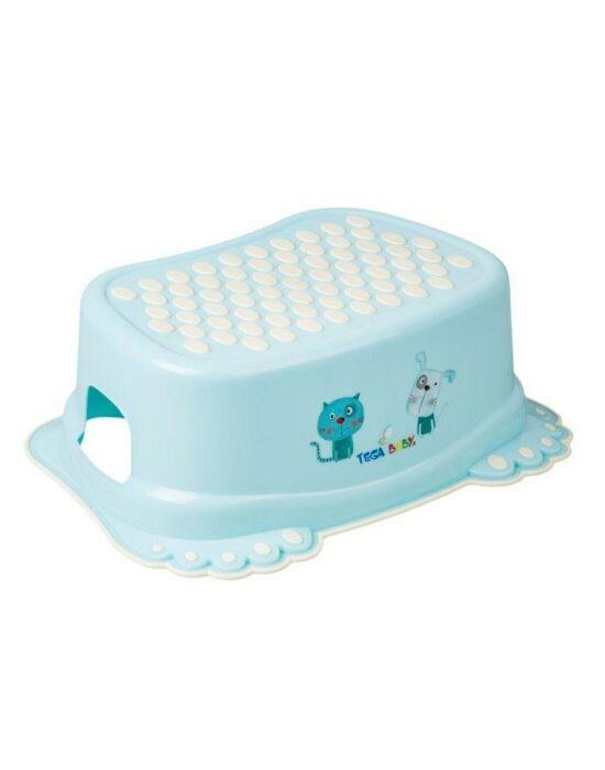 Gyerek csúszásgátlós fellépő fürdőszobába Kutyus és cica kék