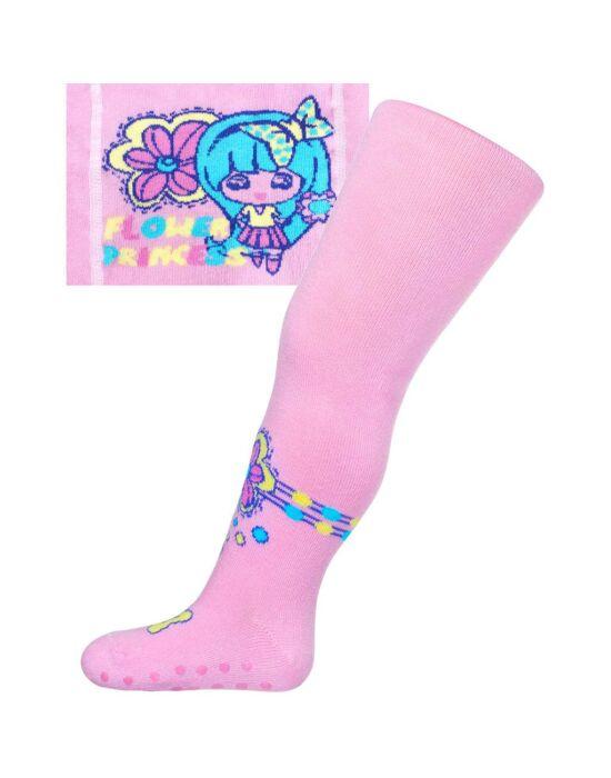 Pamut harisnyanadrág New Baby csúszásgátlóval világos rózsaszín flower princess