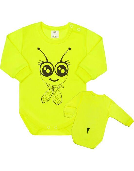 Csecsemő body hossú ujj New Baby Állat Méhecske neon