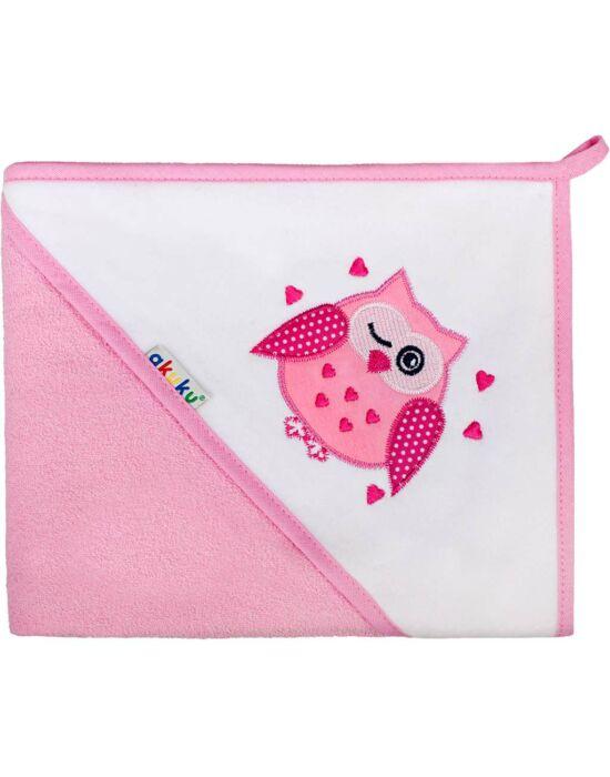 Gyerek törölköző 80x80 Akuku rózsaszín baglyocska több színben