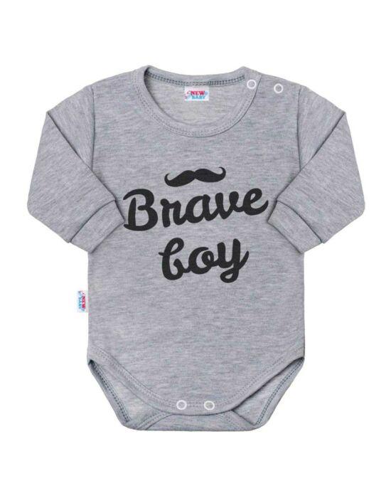Baba hosszú ujjú body New Baby Brave boy szürke