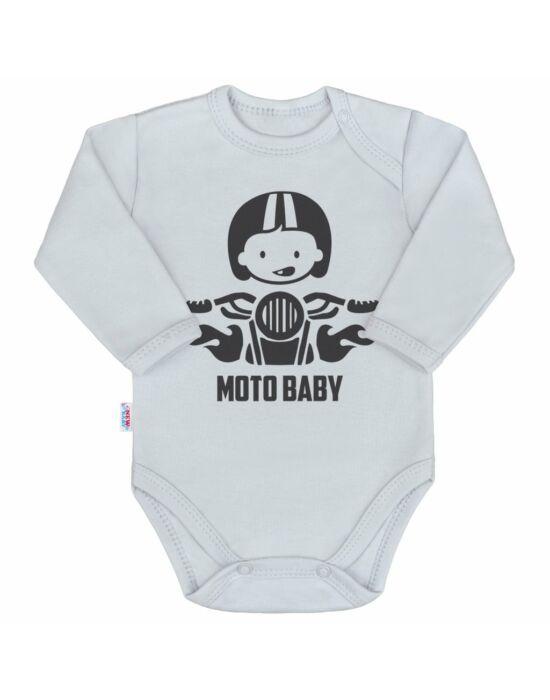 Body nyomtatott mintával New Baby Moto baby szürke