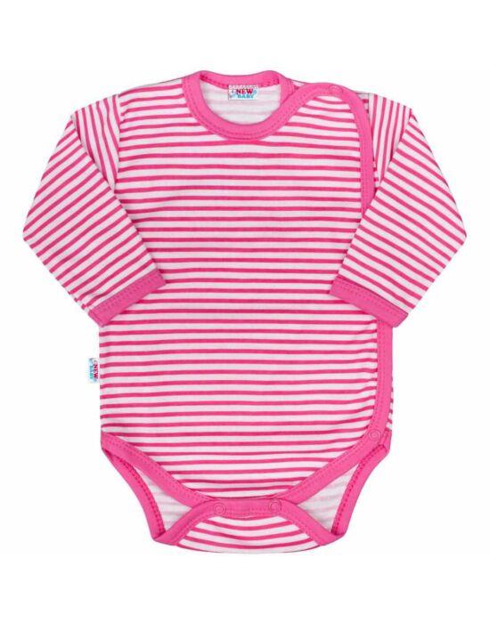 Baba body teljes hosszában patentos New Baby Classic II rózsaszín csíkokkal