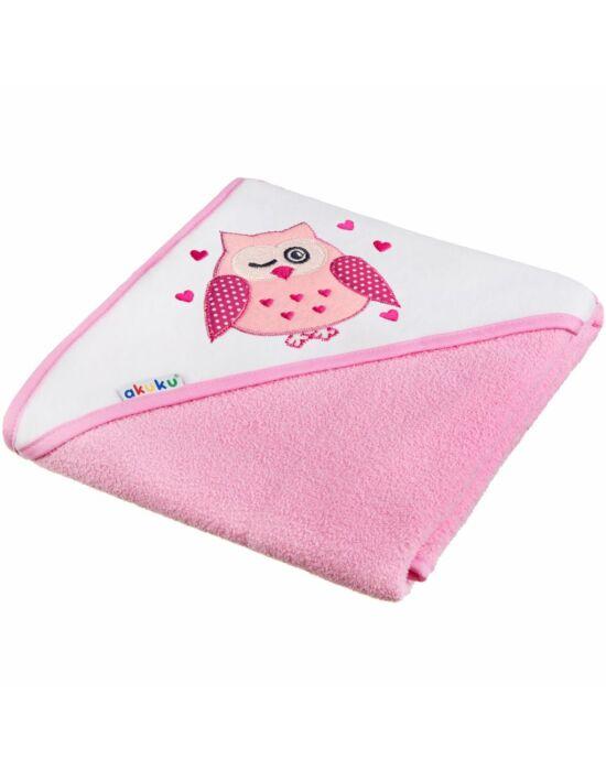 Gyerek törölköző 100x100 Akuku rózsaszín baglyocska