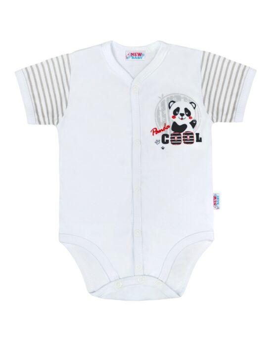 Baba teljes hosszában patentos rövid ujjú body New Baby Panda