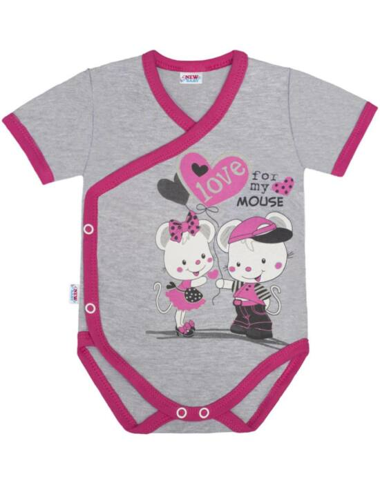 Baba body oldalsó bekapcsolással rövid ujjú New Baby Love Mouse