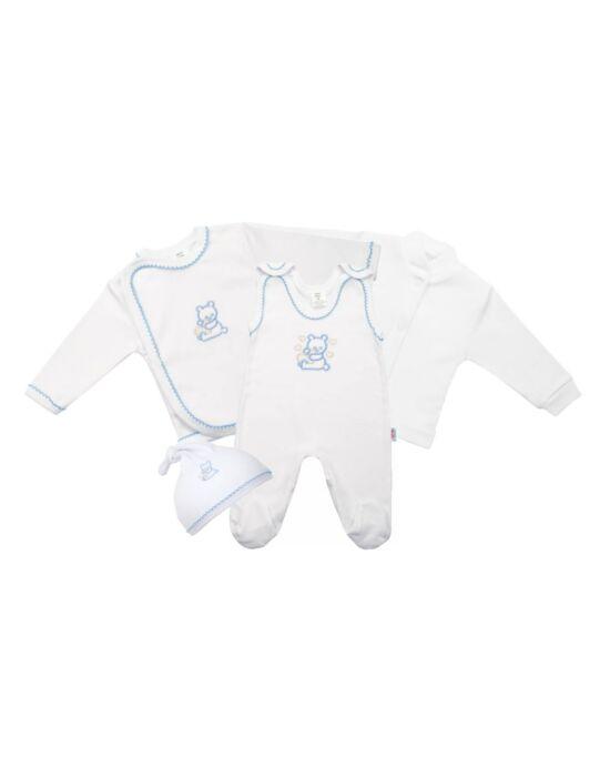 4 részes babaegyüttes fehér kabátkával, több méretben