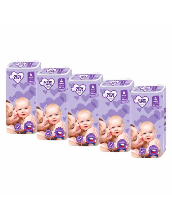 MEGAPACK Gyermek eldobható pelenka New Love Premium comfort 4 MAXI 7-18 kg 5x44 db