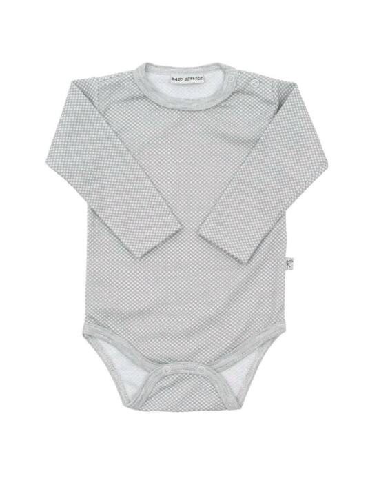 Baba pamut body Baby Service Retro szürke