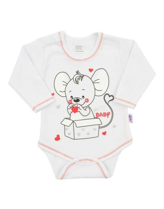 Baba hosszú ujjú body New Baby Mouse fehér
