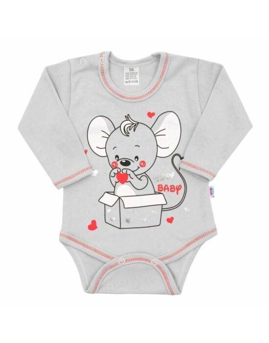 Baba hosszú ujjú body New Baby Mouse szürke