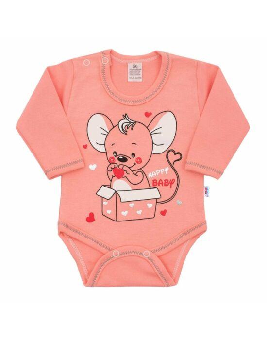 Baba hosszú ujjú body New Baby Mouse lazac szín