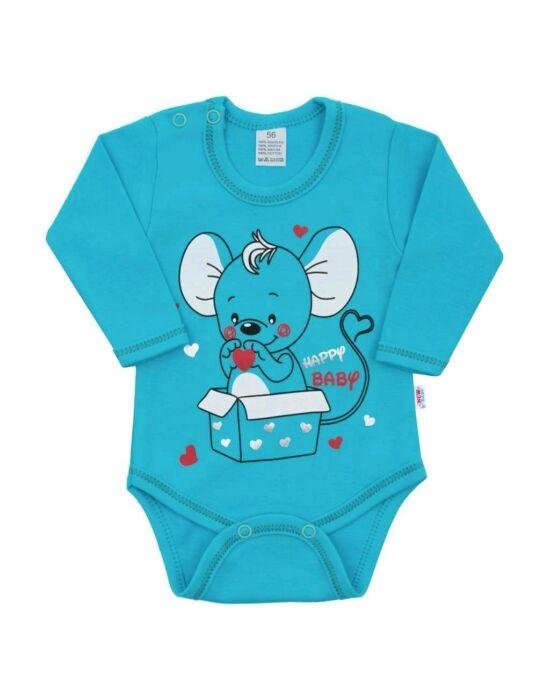 Baba hosszú ujjú body New Baby Mouse türkiz