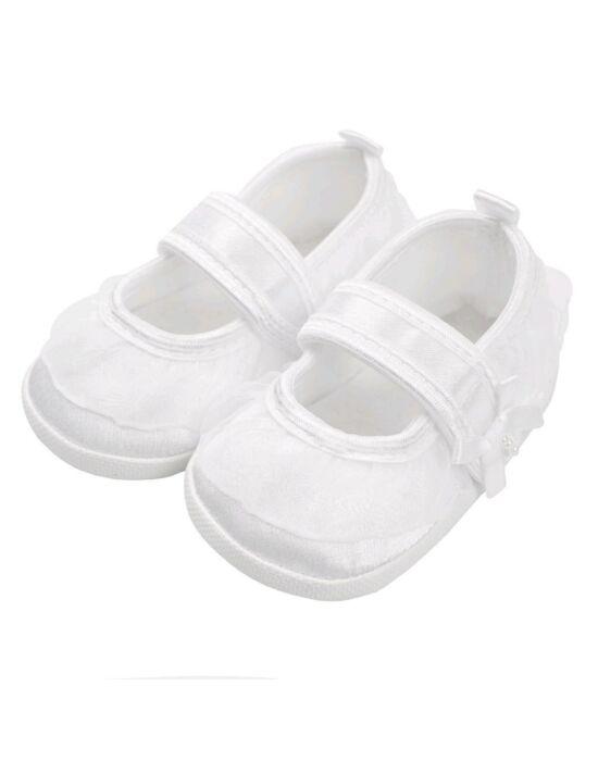 Baba kislányos cipő New Baby szatén fehér 6-12 h