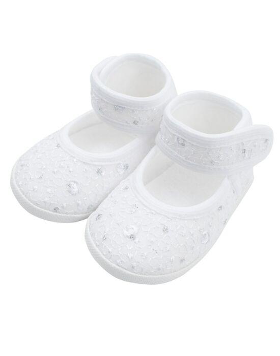 Baba kislányos cipő New Baby ezüst-fehér 12-18 h