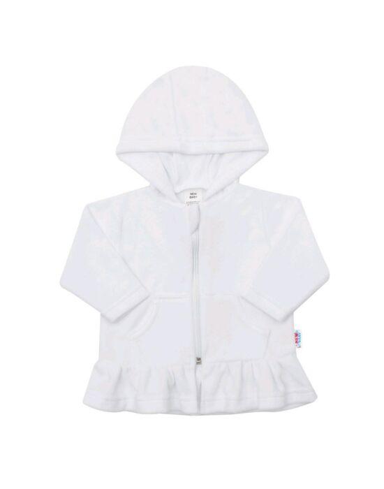 Plüss kapucnis pulóver New Baby Baby fehér