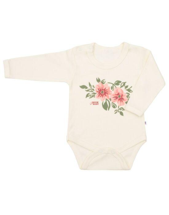 Baba hosszú ujjú body New Baby Flowers bézs