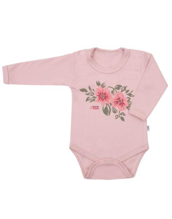 Baba hosszú ujjú body New Baby Flowers rózsaszín