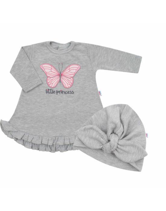 Baba ruha és sapka-turbán New Baby Little Princess szürke