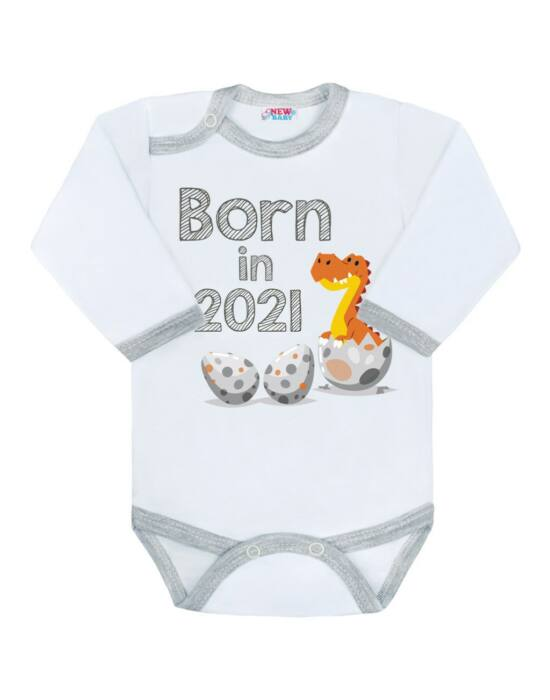 Body nyomtatott mintával New Baby Born in 2021 szürke-fehér