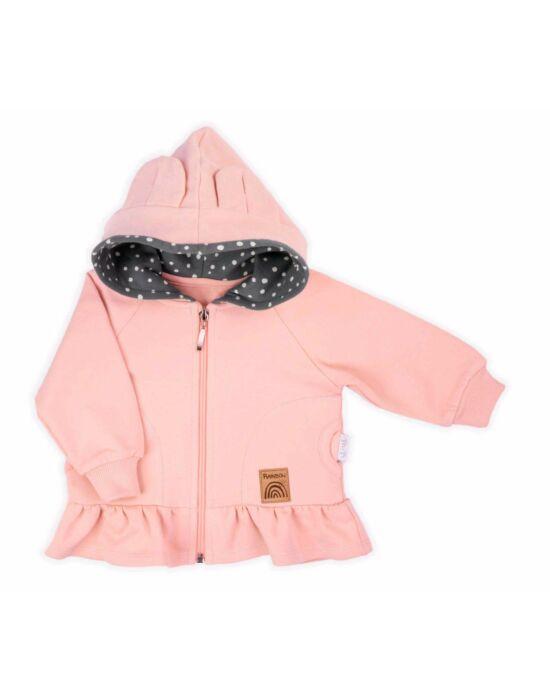 Baba pulóver kapucnival Nicol Rainbow rózsaszín