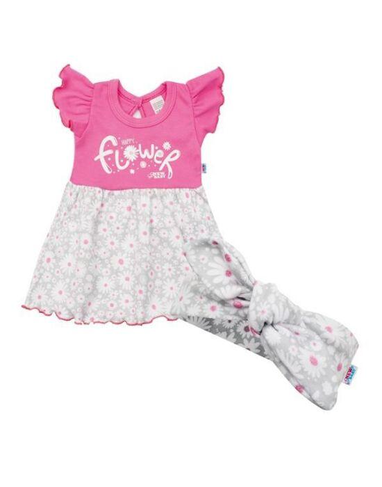 Baba nyári ruha fejpánttal New Baby Happy Flower sötét rózsaszín