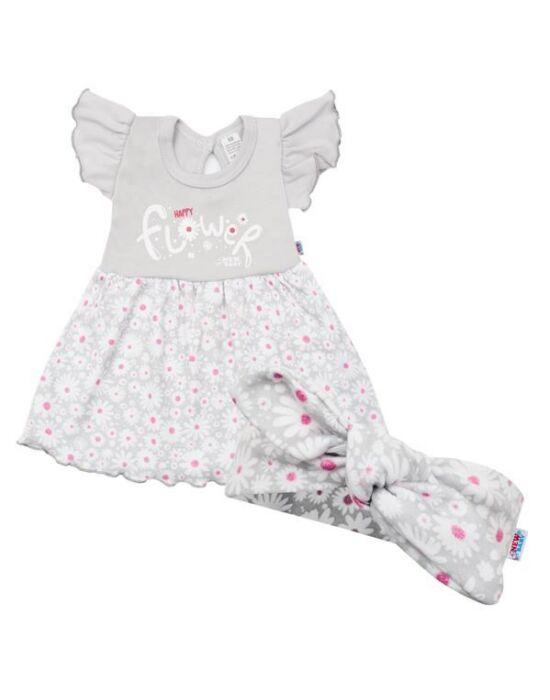 Baba nyári ruha fejpánttal New Baby Happy Flower szürke