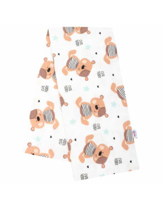 Flanel pelenka nyomtatott mintával New Baby fehér Cute Teddy