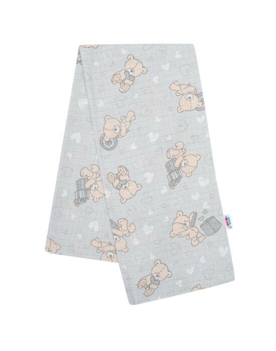 Pamut pelenka nyomtatott mintával New Baby szürke maci és szívecske