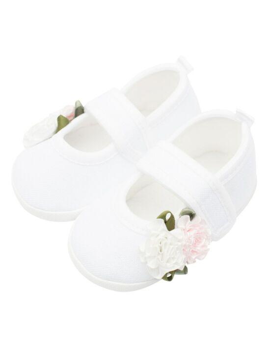 Baba kiscipő New Baby Linen fehér 6-12 h roses