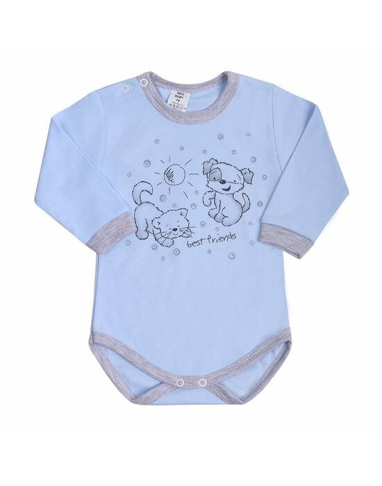Csecsemő hosszú ujjú body (kombidressz) New Baby Barátok) kék