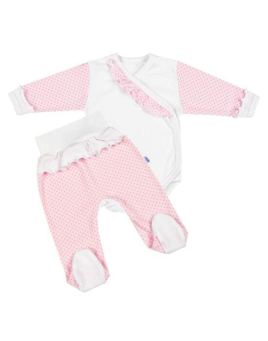 2-részes baba együttes New Baby Pöttyös II fehér-rózsaszín, több méretben
