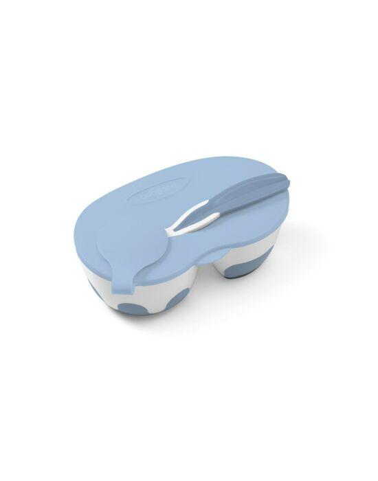 Gyermek osztott tál és kanál Baby Ono kék 200, 150 ml