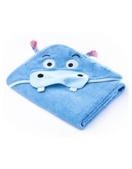 Gyermek törölköző Sensillo Water Friends 100x100cm blue hippo