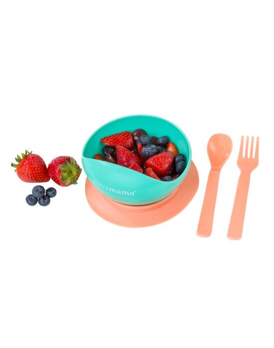 ClevaMama Tapadóaljú tányér kanállal és villával